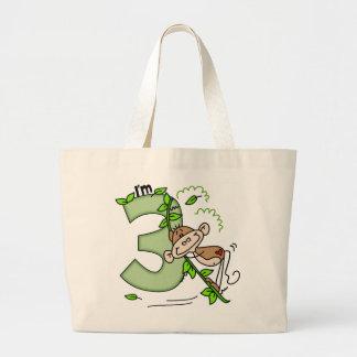 Stick Monkey Swing 3rd Birthday Large Tote Bag
