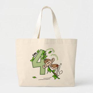 Stick Monkey Swing 4th Birthday Large Tote Bag