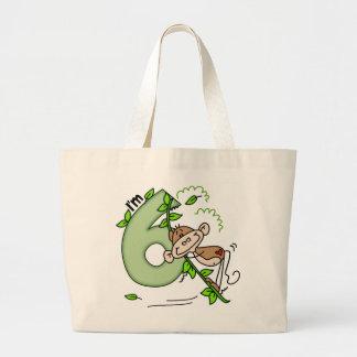 Stick Monkey Swing 6th Birthday Large Tote Bag