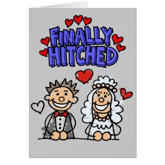 Stick People Bride And Groom Finally Hitched Card