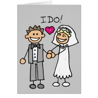 Stick People Bride And Groom Wedding Card