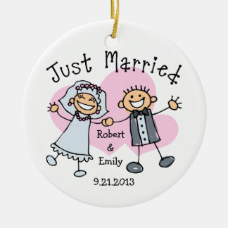 Stick People Just Married Ceramic Ornament