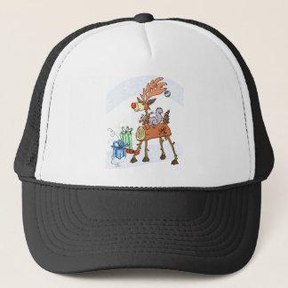 Stick reindeer trucker hat