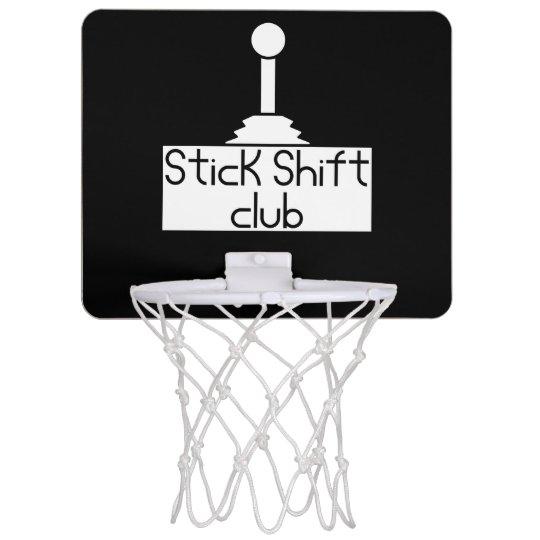 Stick shift mini basketball hoop