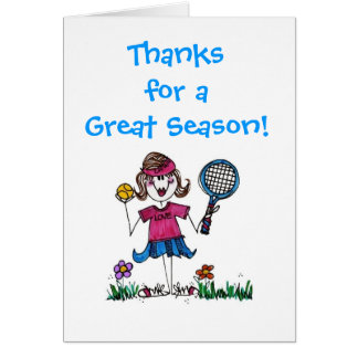 Stick Tennis Girl note card with envelope