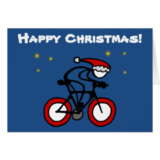 Stick-With-Sport Christmas Santa Cyclist Customize Card
