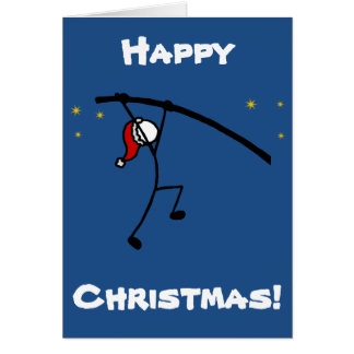 Stick-With-Sport Christmas Santa Pole Vault Custom Card