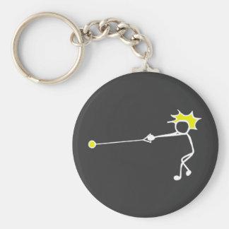 Stick-With-Sport Hammer Thrower Black Yellow Basic Round Button Keychain