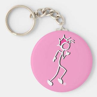 Stick-With-Sport Runner Stickman Pink tones Keychain