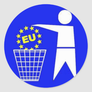 Sticker: Anti European Union protest Classic Round Sticker