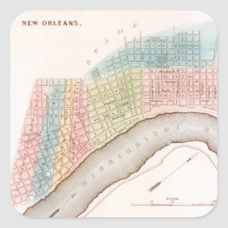 Sticker Antique New Orleans NOLA Map Pastel Shades