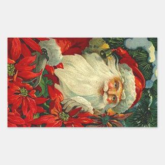Sticker Antique Poinsettia Santa Christmas Forest