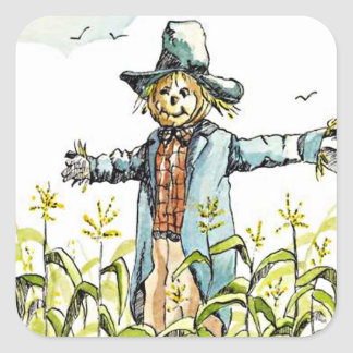Sticker Autumn Scarecrow Fall Corn Crows Fly Cute
