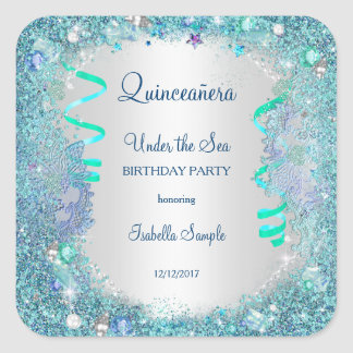 Sticker Blue Under The Sea Quinceanera 15th Party