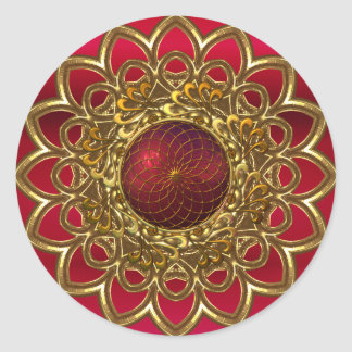 Sticker Bright Red Gold Flower Jewel