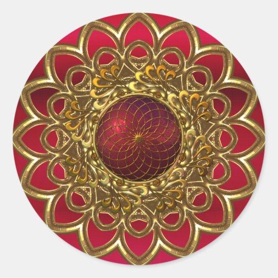 Sticker Bright Red Gold Flower Jewel