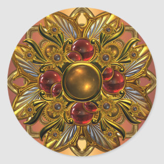 Sticker Bright Red Gold Jewel