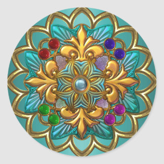 Sticker Bright Teal Pink Gold Jewel 2