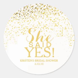 Sticker - Confetti Bridal Shower - She Said Yes!