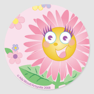 STICKER Cute Pink Anthropomorphic Flower