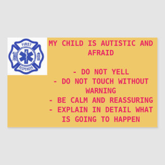 Sticker for first responders - autistic child