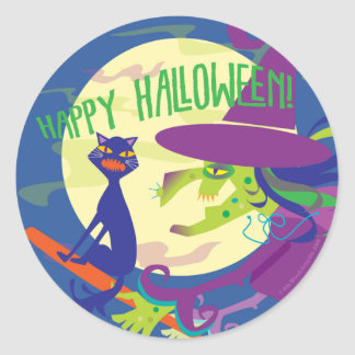 STICKER Happy Halloween Witch