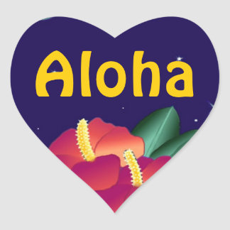 Sticker Hawaiian Night Hibiscus Aloha Heart