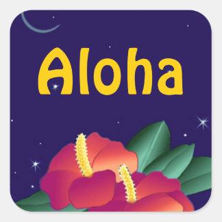 Sticker Hawaiian Night Stars Hibiscus Aloha