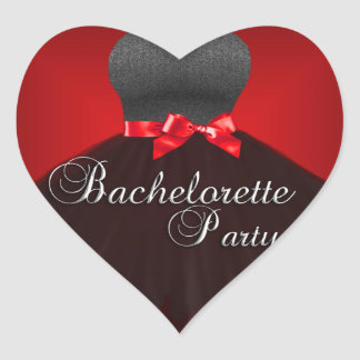 Sticker Heart Bachelorette Party Red Black Dress