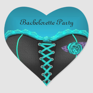 Sticker Heart Bachelorette Party Teal blue Corset Stickers