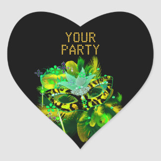 Sticker Heart MASK Lime Green Gold Party