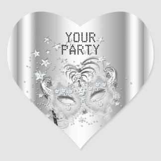 Sticker Heart MASK White Silver Party