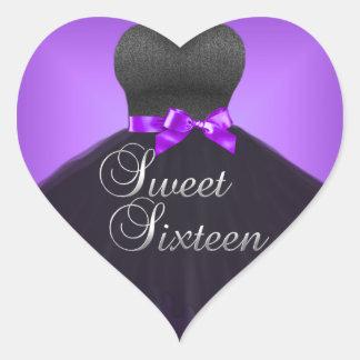 Sticker Heart Sweet 16 Sixteen Purple Dress