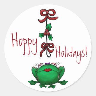 Sticker Hoppy Holidays Christmas Frog