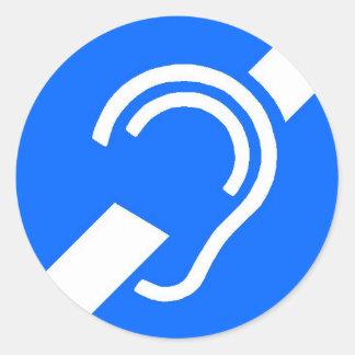 Sticker, International Symbol for the Deaf Round Sticker