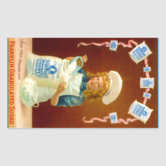 Sticker Kitchen Vintage Ad Girl Granulated Sugar