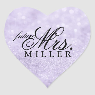 Sticker - Lit Purple Glit Heart Fab future Mrs.