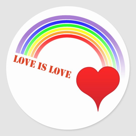 Sticker LOVE IS LOVE Rainbow Heart design