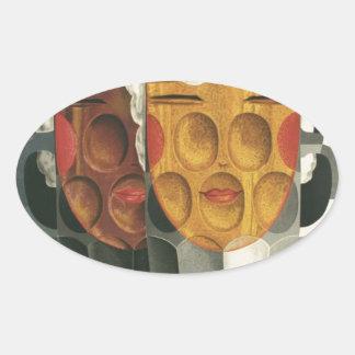 Sticker Ovale affiche française originale 1929 d'art déco de