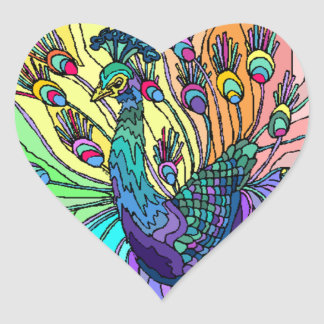 Sticker peacock heart peafowl hearts birds bird