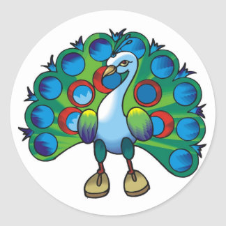 Sticker-peacock peafowl classic round sticker