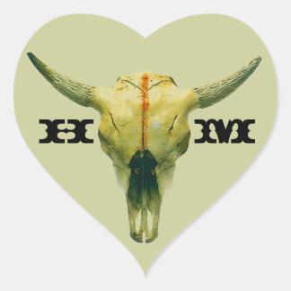 Sticker Personalize Ranch Range Cow Skull Monogram