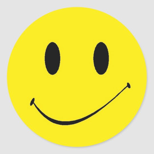 Sticker Retro Fun Yellow Smiley Happy Face Symbol