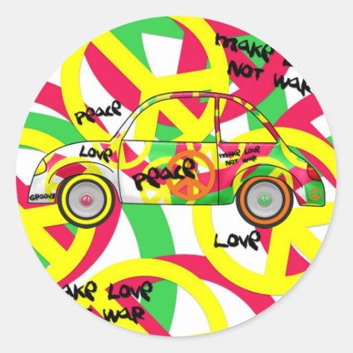 Sticker Retro Love Peace Retro 60's 70's Car Sticker