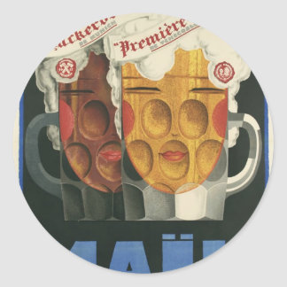 Sticker Rond affiche française originale 1929 d'art déco de