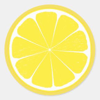 Sticker Rond Conception jaune lumineuse de tranche d'agrumes de