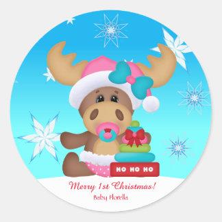 Sticker Rond Drôle mignon de ęrs orignaux de Noël du bébé