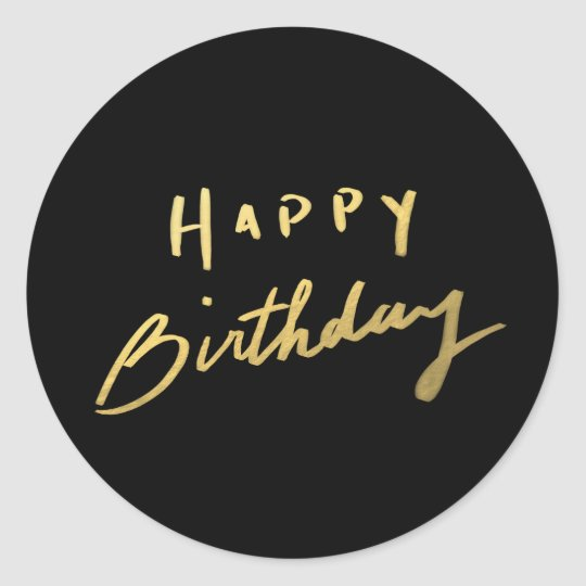 Sticker Rond Joyeux Anniversaire D Or Chic Zazzle Ca