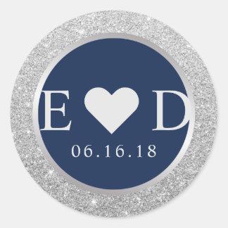 Sticker Rond Mariage argenté élégant de scintillement de bleu