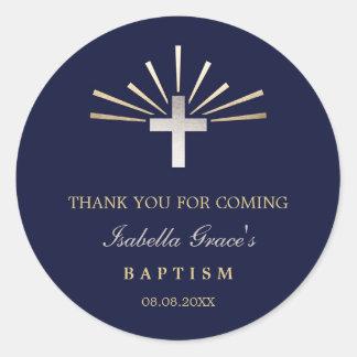 Sticker Rond Merci d'argent d'or et de baptême du bleu |